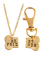 2 Pcs Dog Bone Shaped Best Friends Charm Necklace Keychain Dog Lover Gift