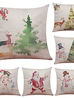 Set of 6 Santa Claus Snowman Series Linen Cushion Cover Home Office Sofa Square Pillow Case Decorative Cushion Covers Pillowcases (18*18Inch)