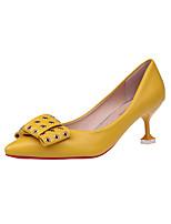 Mujer Tacones Zapatos formales PU Otoño Vestido Fiesta y Noche Paseo Pedrería Pajarita Tacón Stiletto Blanco Negro Amarillo 5 - 7 cms