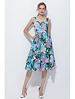 Ample Gaine Robe Femme Décontracté / Quotidien Sortie simple Mignon,Fleur A Bretelles Midi Mi-long Sans Manches Soie Eté Taille Normale