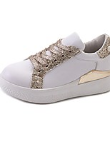 Women's Sneakers Comfort PU Summer Casual Lace-up Flat Heel Silver Gold Flat