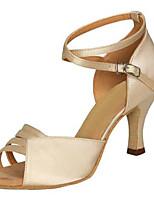 Women's Latin Silk Sandals Performance Criss-Cross Stiletto Heel Almond Gray 3