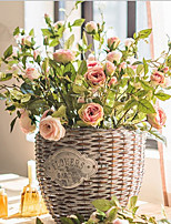 1 Branch Plastic Roses Tabletop Flower Artificial Flowers Home Decoration Wedding Supplies Happy Roses 3 Flowers 2 Buds
