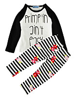 Girls' Striped Floral SetsCotton Spring Fall Long Sleeve Clothing Set Kids Girls 2pcs Outfits