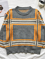 Men's Casual/Daily Simple Spring Fall Polo,Striped Round Neck Long Sleeves Others