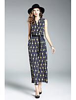 Для женщин На каждый день Оболочка Платье С принтом,V-образный вырез Средней длины Без рукавов Полиэстер Лето Со стандартной талией