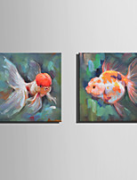 Mini Size E-HOME Oil painting Modern Frolic Goldfish Pure Hand Draw Frameless Decorative Painting Set of 2