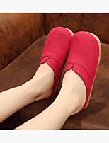 Damen Slippers & Flip-Flops Komfort Leinwand Sommer Normal Beige Rot Blau Flach