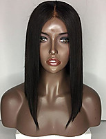 Middle Part Human Hair Bob Wigs Silk Straight Glueless Lace Front Wigs Medium Brown Cap Suitble With The Dark Skin Color