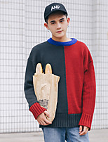Men's Going out Casual/Daily Short Pullover,Color Block Round Neck Long Sleeves Polyester Spandex Others Spring Fall Medium Micro-elastic