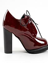 Для женщин Обувь на каблуках Удобная обувь Полиуретан Весна Повседневные На толстом каблуке Вино 9,5 - 12 см