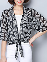 Women's Going out Casual/Daily Boho Cute Summer Fall Blouse,Floral Print V Neck Half Sleeves Polyester Medium