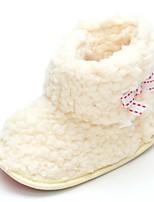 Baby Flats Comfort Fashion Boots Fleece Fall Winter Wedding Casual Outdoor Party & Evening Dress Bowknot Magic Tape Flat Heel Beige Flat