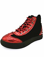 Women's Sneakers Formal Shoes Fall PU Walking Shoes Casual Dress Office & Career Lace-up Flat Heel Sliver Ruby 1in-1 3/4in