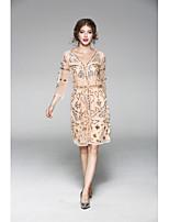 Для женщин На каждый день Оболочка Платье Однотонный Вышивка,V-образный вырез Выше колена Рукав 3/4 Полиэстер Лето Со стандартной талией