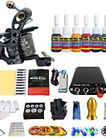 Professional Tattoo Kit Liner 1 Machine 20 Needle Power Supply 7 Ink Set