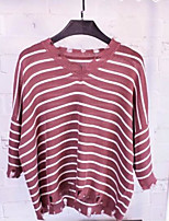 Women's Going out Simple T-shirt,Striped V Neck 3/4 Length Sleeve Cotton