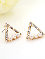 Women's Stud Earrings Basic Imitation Pearl Rhinestone Alloy Jewelry For Wedding Party Birthday Engagement Gift