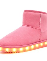 Girls' Boots Light Up Shoes Snow Boots Nubuck leather Winter Casual Outdoor Flat Heel Blushing Pink Brown Gray Black Flat