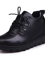 Women's Sneakers Comfort PU Spring Fall Casual Lace-up Flat Heel Ruby Black Flat