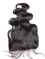 Freemiddle / три части монгольского тела волна закрытие кружева не-remy волосы 5x5 120% плотность натуральный цвет 10-18 дюймов