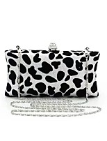 Women Bags Spring Summer PVC Evening Bag with Leopard Crystal Chain for Wedding Event/Party Black-white