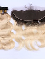 Beata Hair 8A 1B-613 Bleached Blonde Body Wave 3 Bundles with Lace Frontal Pre-Plucked 100% Brazilian Virgin Human Hair Extensions
