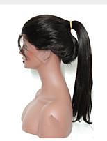 Mujer Pelucas de Cabello Natural Remy Encaje Frontal Frontal sin Pegamento 130% Densidad Liso Peluca Negro Negro Corto Medio Largo