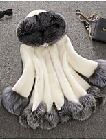 Women's Casual/Daily Cute Fall Winter Fur Coat,Solid Hooded Long Sleeve Regular Raccoon Fur