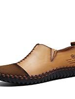 Для мужчин Мокасины и Свитер Для прогулок Удобная обувь Кожа Лето Осень Повседневные Комбинация материалов На плоской подошвеЧерный