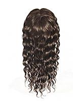 Uniwigs remy cabello humano mono monofilismo tapa cabello pieza onda húmeda color marrón oscuro 16 pulgadas de pérdida de cabello (g-2)