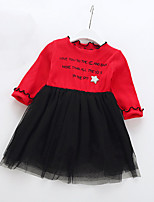 Girls Cotton Long Sleeves Round Neck Letters Sparkle  Tops Dresses Baby Princess Siamese Skirt