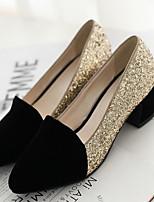 Feminino Sapatos Pele Nobuck Couro Ecológico Verão Conforto Saltos Para Casual Preto Vermelho