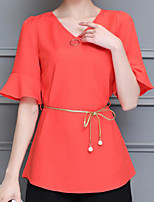 Women's Casual/Daily Simple Summer Blouse,Solid V Neck Short Sleeve Others