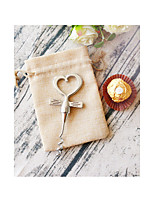 Chrome Heart Bottle Opener in Burlap Bag Wedding Anniversary Favors Beter Gifts® Life Style