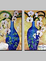 Ручная роспись Цветочные мотивы/ботанический Вертикальная,Абстракция Modern 2 панели Холст Hang-роспись маслом For Украшение дома