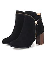 Для женщин Ботинки Модная обувь Дерматин Осень Зима Для праздника Для вечеринки / ужина Черный Серый Желтый Миндальный 4,5 - 7 см