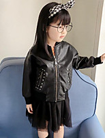 Girls' Embroidered Jacket & Coat,PU Spring Fall Long Sleeve