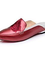 Women's Sandals Comfort Summer PU Casual Black Ruby Green Flat
