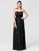 Sheath / Column Sweetheart Floor Length Lace Tulle Formal Evening Dress with Sash / Ribbon Tiered by TS Couture®