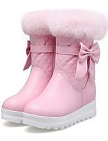 Для женщин Обувь Полиуретан Зима Удобная обувь Ботинки Назначение Повседневные Белый Черный Розовый