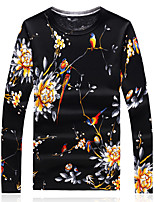 Men's Plus Size Casual/Daily Club Vintage Chinoiserie Regular Pullover,Print Color Block Round Neck Long Sleeve Wool Cotton Fall Winter