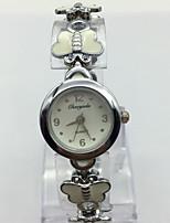 Жен. Наручные часы Часы-браслет Китайский Кварцевый Металл Группа Повседневная Белый Серебристый металл