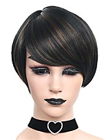 Short Black Mix Brown Straight Wigs for Women Costume Cosplay Synthetic Wigs