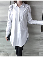Women's Casual/Daily Simple Spring Shirt,Solid Shirt Collar Long Sleeve Cotton