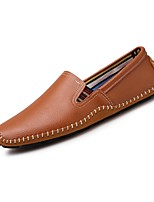 Men's Loafers & Slip-Ons Moccasin Light Soles Spring Summer Leather Casual Office & Career Flat Heel Brown Dark Blue Black Flat