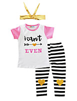 Girls' Stripes Sets Cotton Summer Short Sleeve Clothing Set with Headband Heart Design Kids Girls Clothes for Baby Girls 3pcs Outfits 2017 Fashion