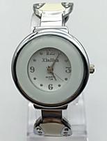 Mujer Reloj de Moda Reloj de Pulsera Chino Cuarzo Metal Banda Brazalete Casual Blanco Plata