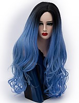 Women Synthetic Wig Capless Long Natural Wave Blue Ombre Hair Natural Wig Party Wig Halloween Wig Carnival Wig Costume Wigs