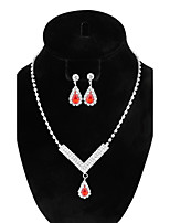 Women's Drop Earrings Pendant Necklaces Ruby AAA Cubic Zirconia Fashion Vintage Elegant  Rhinestone Jewelry Set For Wedding Party Ceremony